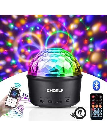 CHOELF Luces Discoteca, Bola de Discoteca Luz Nocturna con Altavoz Bluetooth, 9 LED Luz