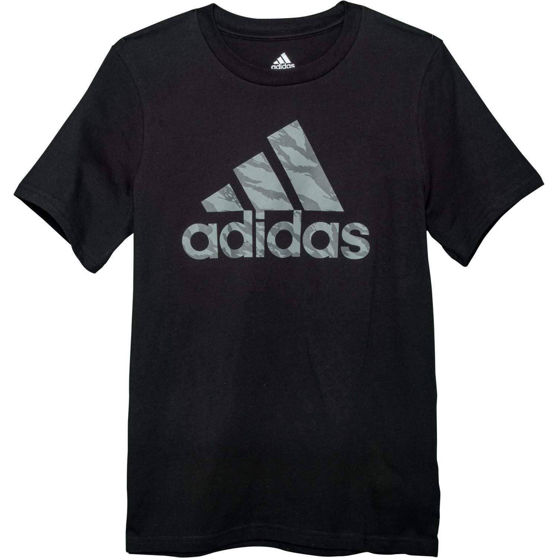 adidas Boys' Short Sleeve Graphic Tee Shirt (S (8), Black/Military Camo)