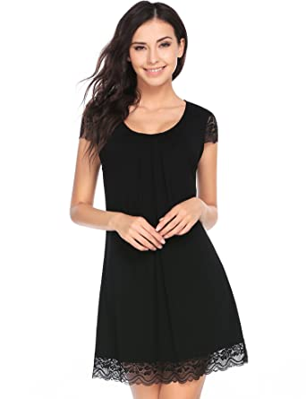 Ekouaer Nightgown Womens Comfort Sleep Shirts Lace V-Neckline Nightshirts  Pjs (Black 25a1de239
