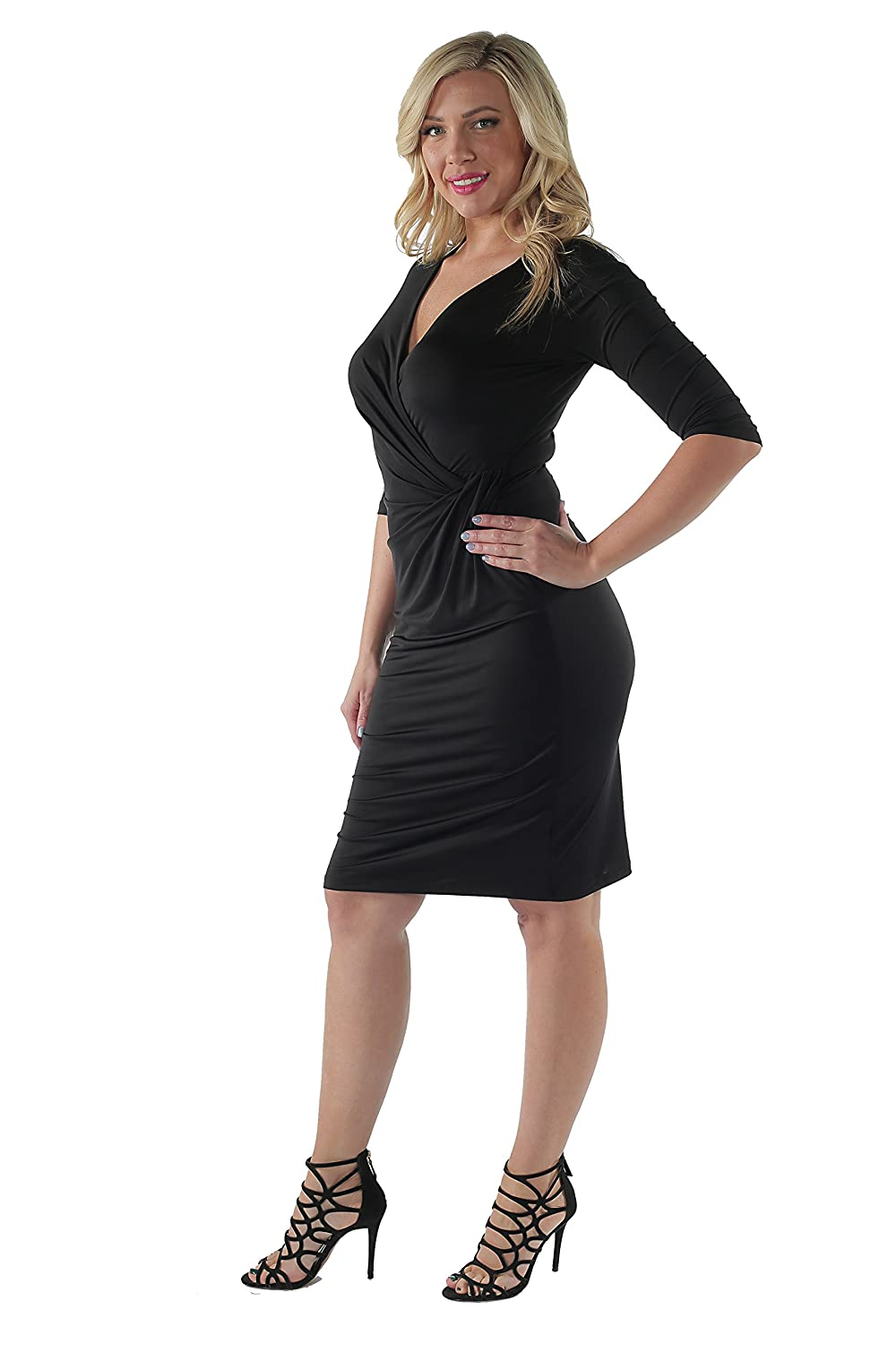 24seven Comfort Apparel Womens Plus Size 3//4 Sleeve Draped V Neck Figure Flattering Dress Sizes 1XL-3XL Made in USA