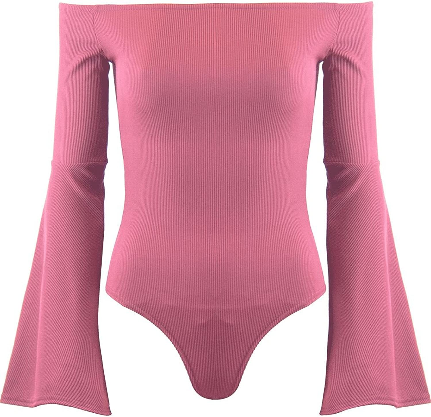 Oops Outlet Womens Ladies Stretchy High Choker V Plunge Long Sleeve Leotard Bodysuit Top