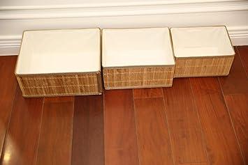 3 pcs Juguetes Natural Cestos para Almacenaje de Ropa Cajas de Almacenaje Decorativas Angel Living Cestas de Almacenaje de Bamb/ú