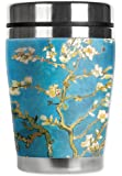 "Mugzie Van Gogh Almond Blossoms ""Mini"" Travel Mug with Insulated Wetsuit Cover, 12 oz, Black"