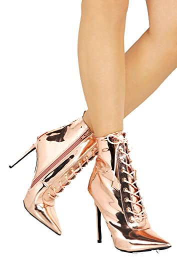 4a23969e11 Shoe Republic RARA Seriously Superior Rose Gold Pointed Toe Lace Up Sexy  Metalic Bootie (6