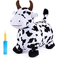 iPlay, iLearn Cow Hopping Horse, Outdoors Ride On Bouncy Animal Play Toys, Inflatable Hopper Plush Covered with Pump…