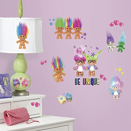 Roommates rmk3062scs good luck trolls peel and stick wall decals