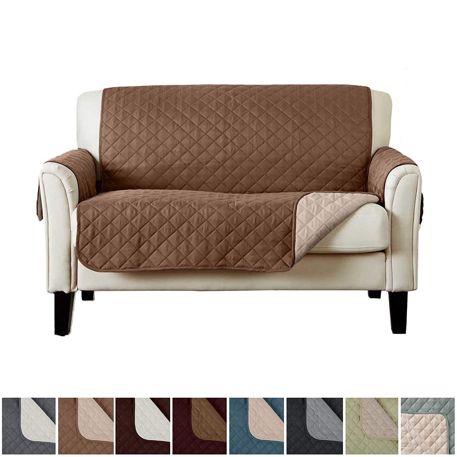 (Love Seat, Prairie / Flax) - Home Fashion Designs Deluxe Reversible Quilted Furniture Protector and PET PROTECTOR. Two Fresh Looks in One. Perfect for Families with Pets and Kids. By Brand. (Love Seat, Prairie/Flax) Love Seat Prairie / Flax B01LY0TEGH