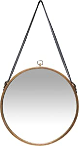 Infinity Instruments Rustic Farmhouse Circle 16 inch Round Hanging Wall Mirror, Brown