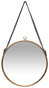 Infinity Instruments Rustic Circle Round Mirror, Brown