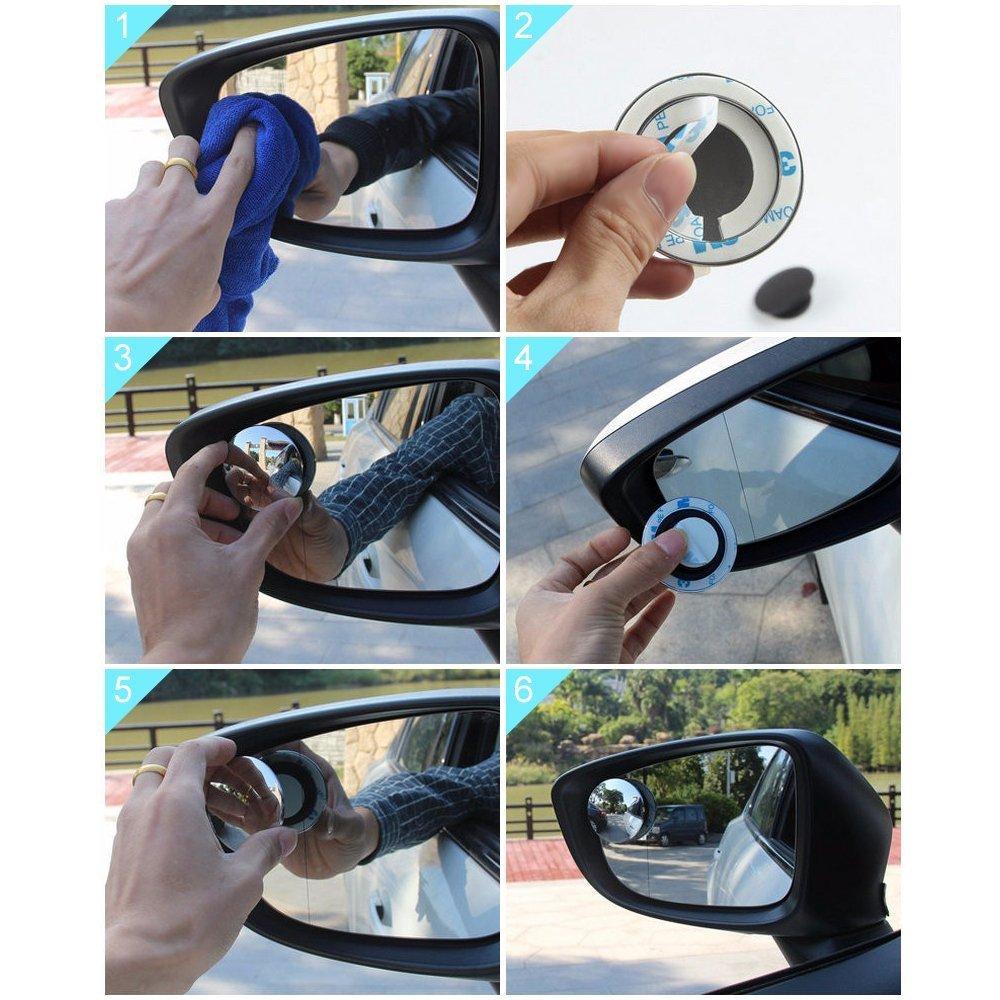 Wolfride 円形 車用 ブラインドスポットミラー 360° 角度調整自由自在 高解像度 バックミラー サイドミラー 補助ミラー 後方確認