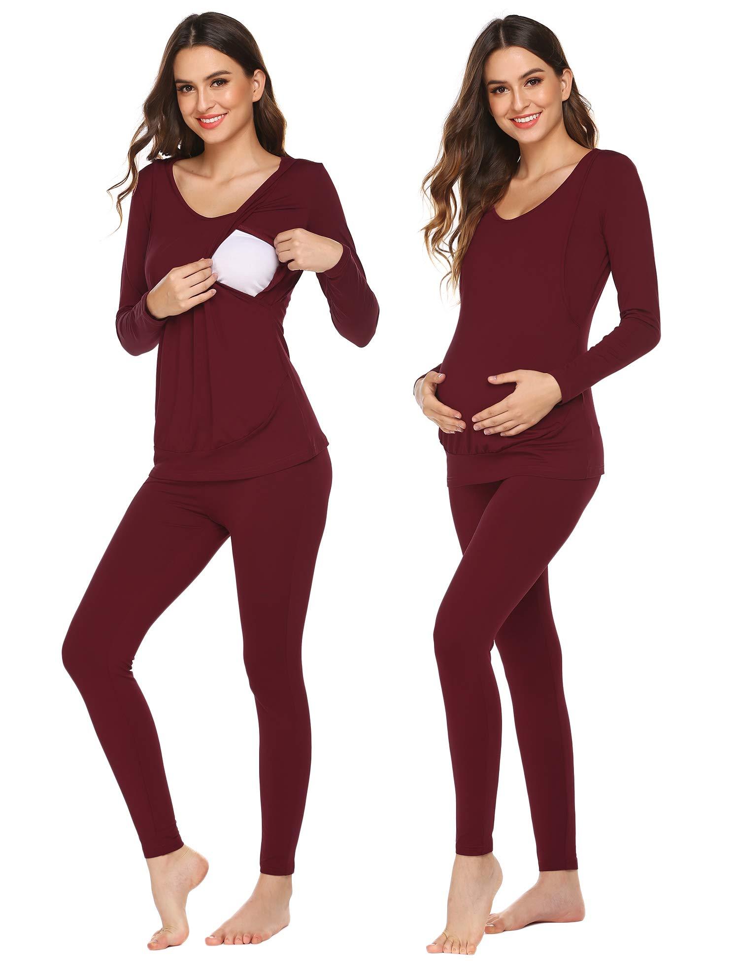 Ekouaer Breastfeeding Thermal Underwear Set Ultra Soft Nursing Pajamas Set for Women (Wine Red, XX-Large) by Ekouaer