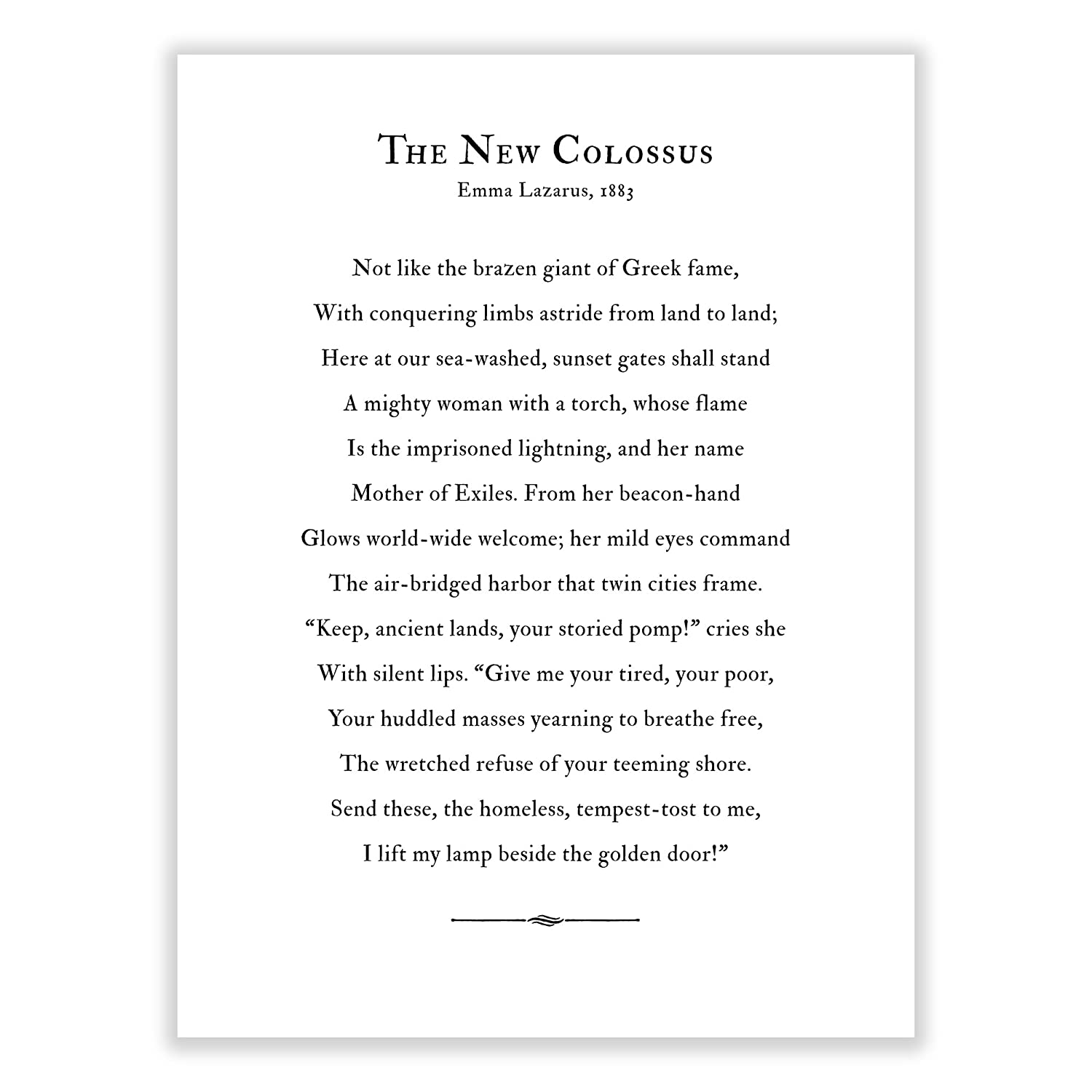 Art Of Observation The New Colossus Poem Archival Print Black And White 11 Inches X 14 Inches