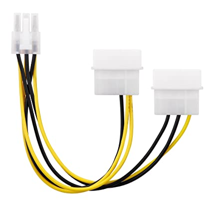 conecto CC20020 Cable de alimentación para Tarjetas gráficas PCI-E (2X IDE Molex de 4 Pines a 1 x 6 Pines), 0.15m