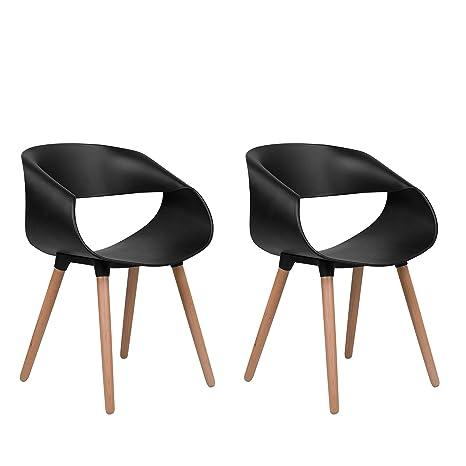 Beliani Conjunto de 2 sillas de Comedor Negras Charlotte: Amazon.es ...