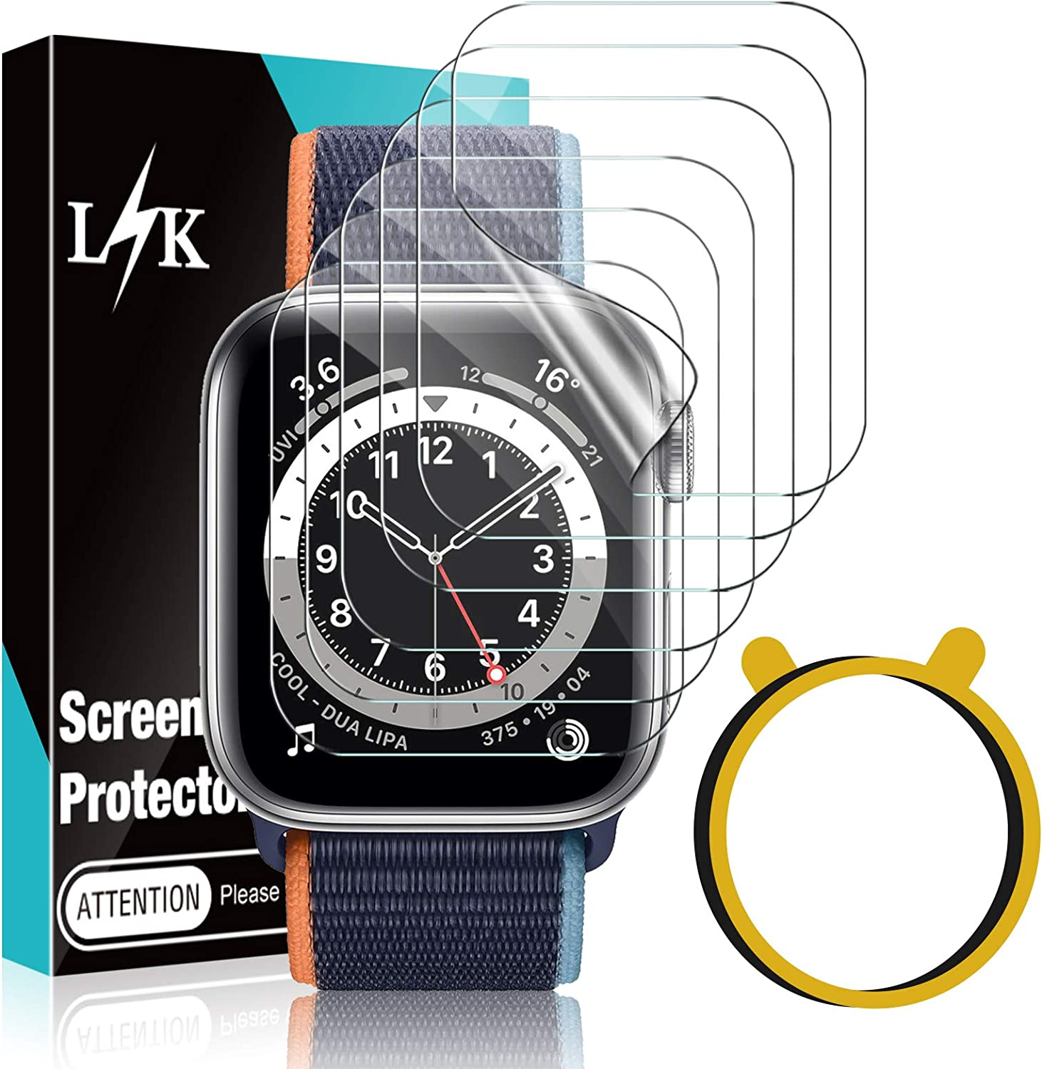6 Pack LϟK Screen Protector Compatible for Apple Watch SE & Series 6 44mm, Max Coverage Bubble-Free Flexible TPU Clear Film with Circle Installation Tool