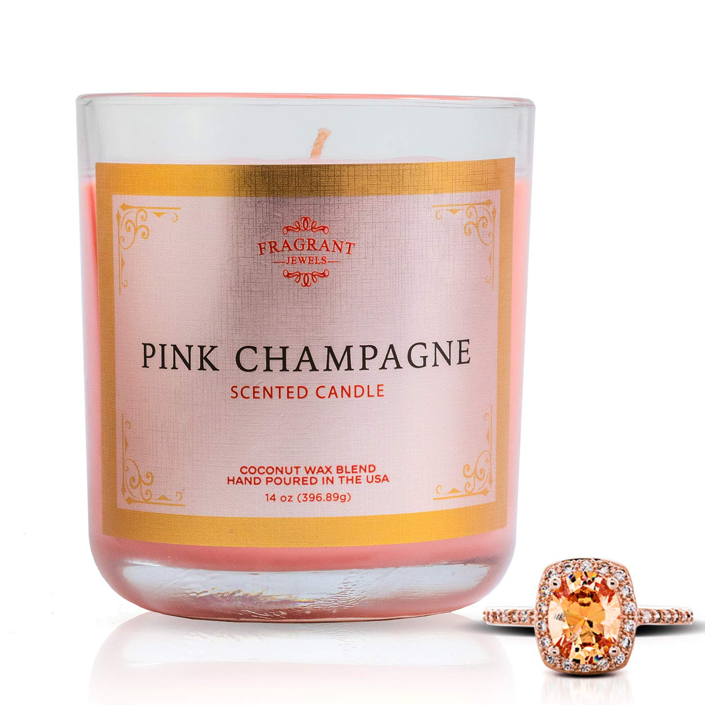 Fragrant Jewels Pink Champagne Jewel Candle with Collectible Rings (Size 5-10)
