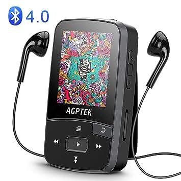 AGPTEK A50 - Reproductor de MP3 (Bluetooth, 8 GB, con clip, radio FM, grabador de voz): Amazon.es: Electrónica