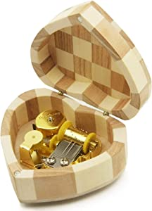Wingostore Heart Shaped Music Box Wind Up and Golden Movement Music Box for Christmas/Birthday/Valentine's Day, Melody You are My Sunshine (You are My Sunshine)