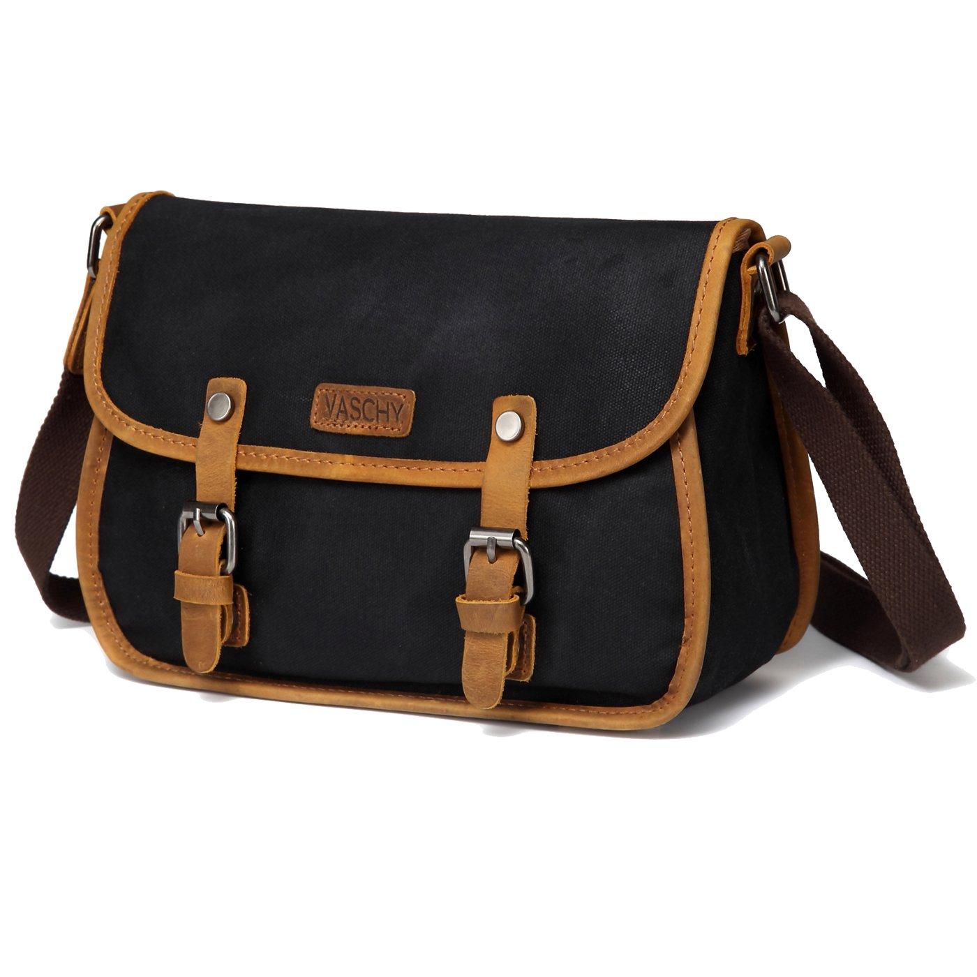 Crossbody Bag for Women,VASCHY Vintage Leather Waxed Canvas Flap Small Shoulder Bag for Women Black