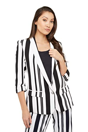 00c84da47fbe2 Graphic Striped Ruched Sleeve Blazer at Amazon Women s Clothing store