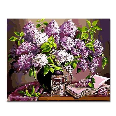 BOSHUN Pintar por Numeros para Adultos Niños Pintura por Números con Pinceles y Pinturas Decoraciones para el Hogar Flor Purpura (16 * 20 Pulgadas, Sin Marco): Hogar