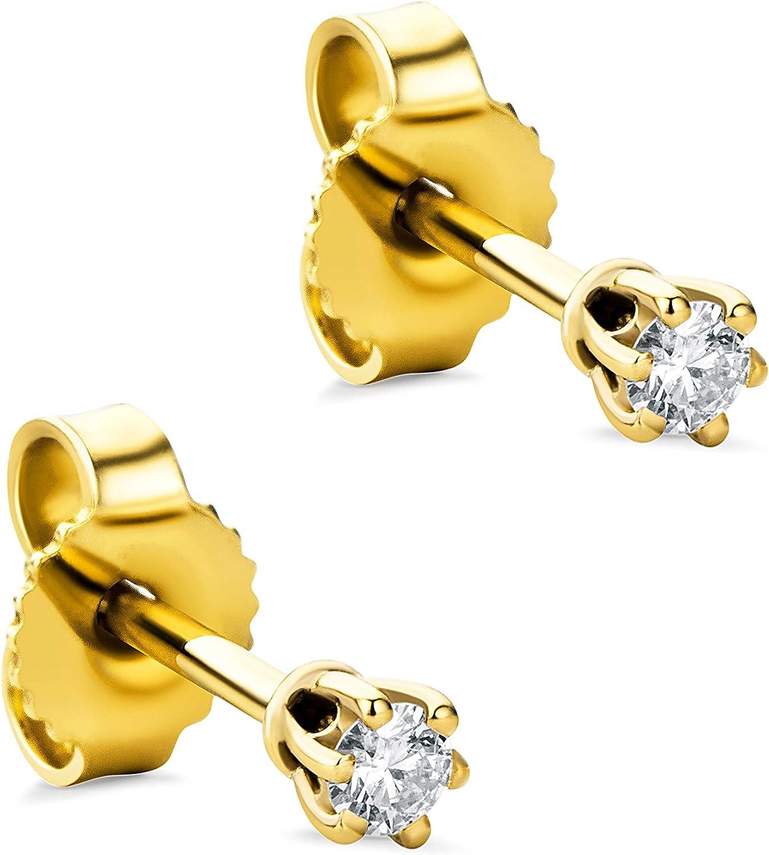 Orovi - Pendientes para mujer con diamantes de oro amarillo de 9 quilates (375) y diamante de 0,08 quilates