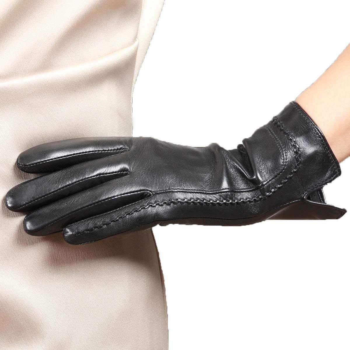 CWJ Women's Touchscreen Texting Leather Gloves Short Fashion Classic Super Warm Black,Black,Medium