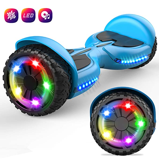 GeekMe 6.5 Pulgadas Hoverboard Scooter Eléctrico Auto Equilibrio Inteligente Built-in Bluetooth Speaker Flashing LED Luces para Niños y Adultos