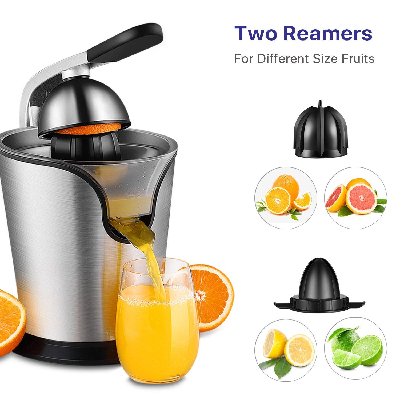 Hand Press Electric Citrus Orange Juicer Squeezer Machine Motorized Pulp Control 160 Watt Juice Maker Extractor Ergonomic Design Stainless Steel Stand with Rubber Handle and Cone Lid