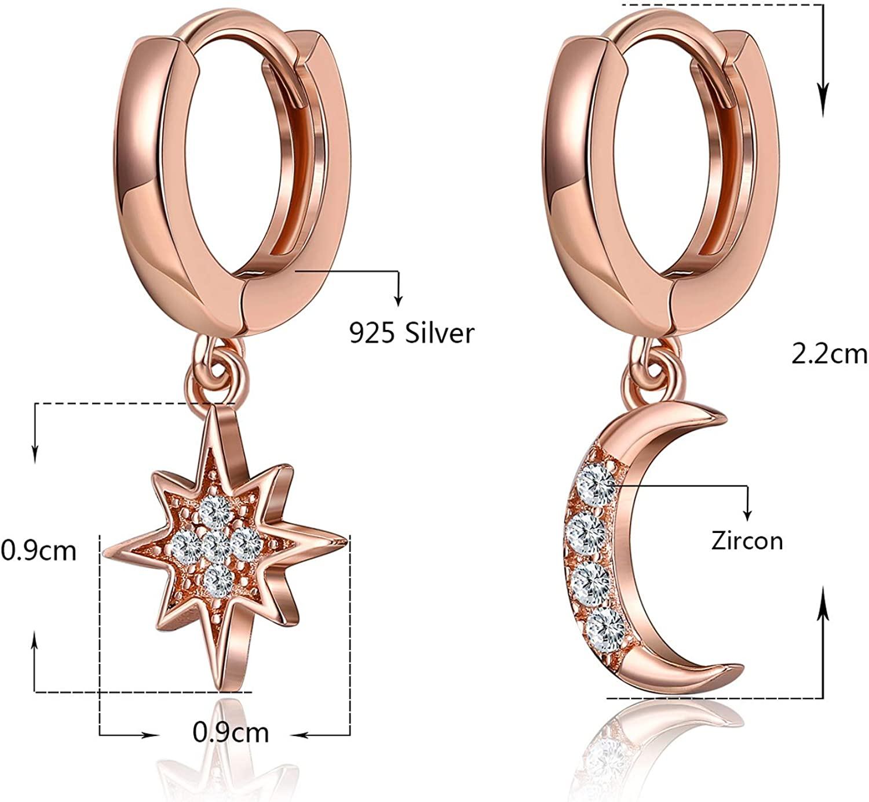 Hoop Earrings Charm Crystal 925 Sterling Silver Fashion Stud Women UK Jewellery