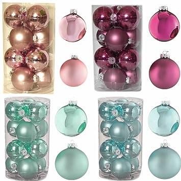 Christbaumkugeln Türkis Glas.Amazon De Ls Design 12 Glas Xl Weihnachtskugeln Christbaumkugeln
