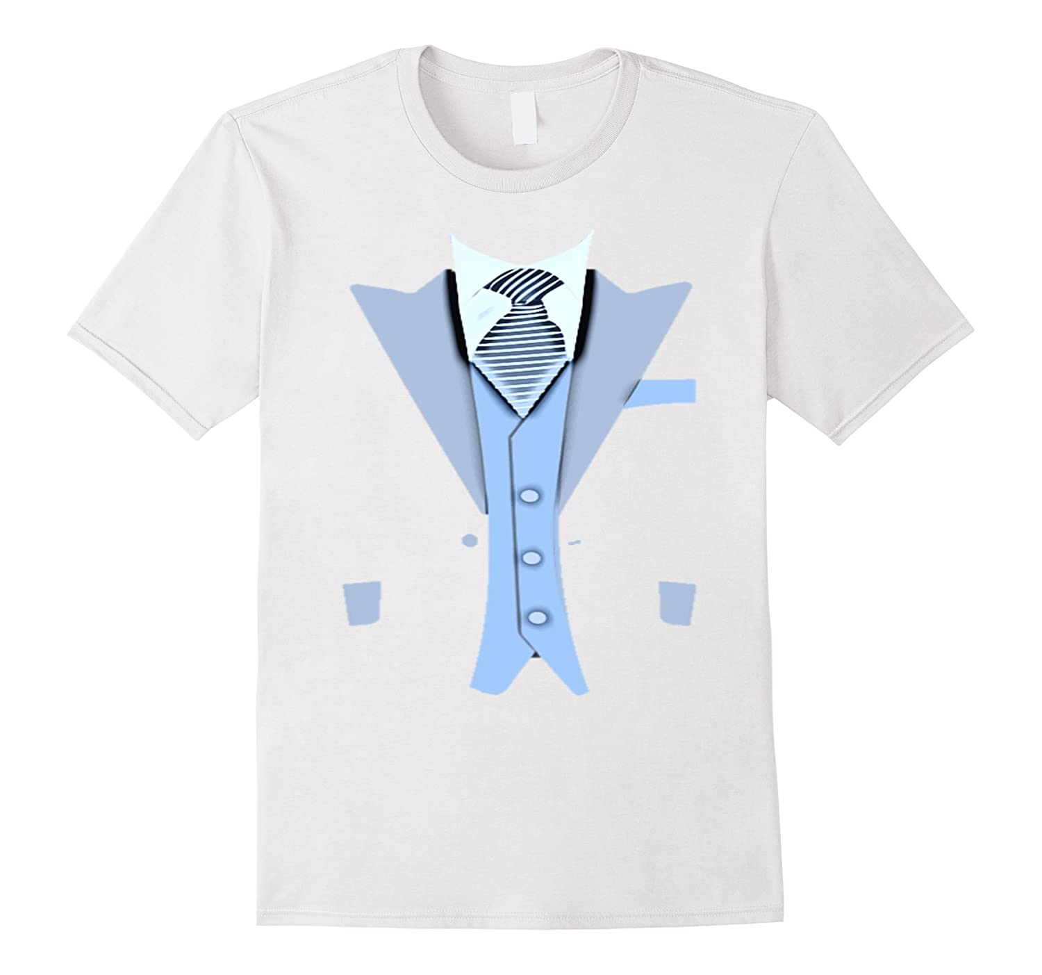 Funny Black Blue Tuxedo Suit TShirt with Vest and tie-4LVS
