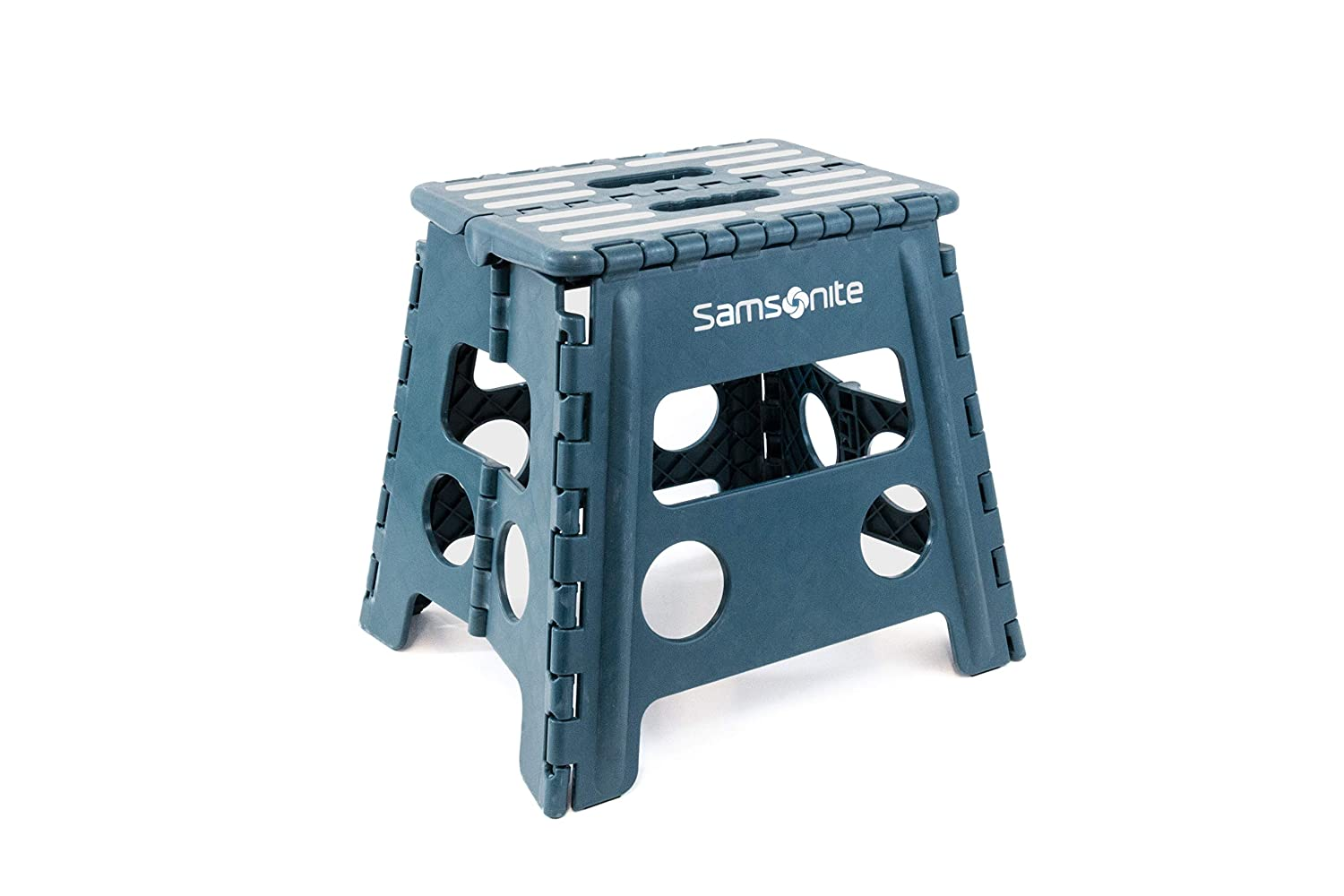 Heavy Duty Folding Step Stool 13 High Double Handle 2 Wide When Folded in Dark Teal by Vanderbilt