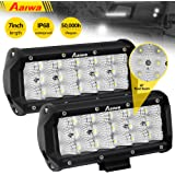 LED Light Bar Aaiwa 2Pcs 7 Inch 54W Triple Row Flood Led Off Road Lights Fog lights Driving Lights Boat Lights LED Work Light for Truck, Off-road, Truck, Car, ATV, SUV, Jeep,5 Year Warranty