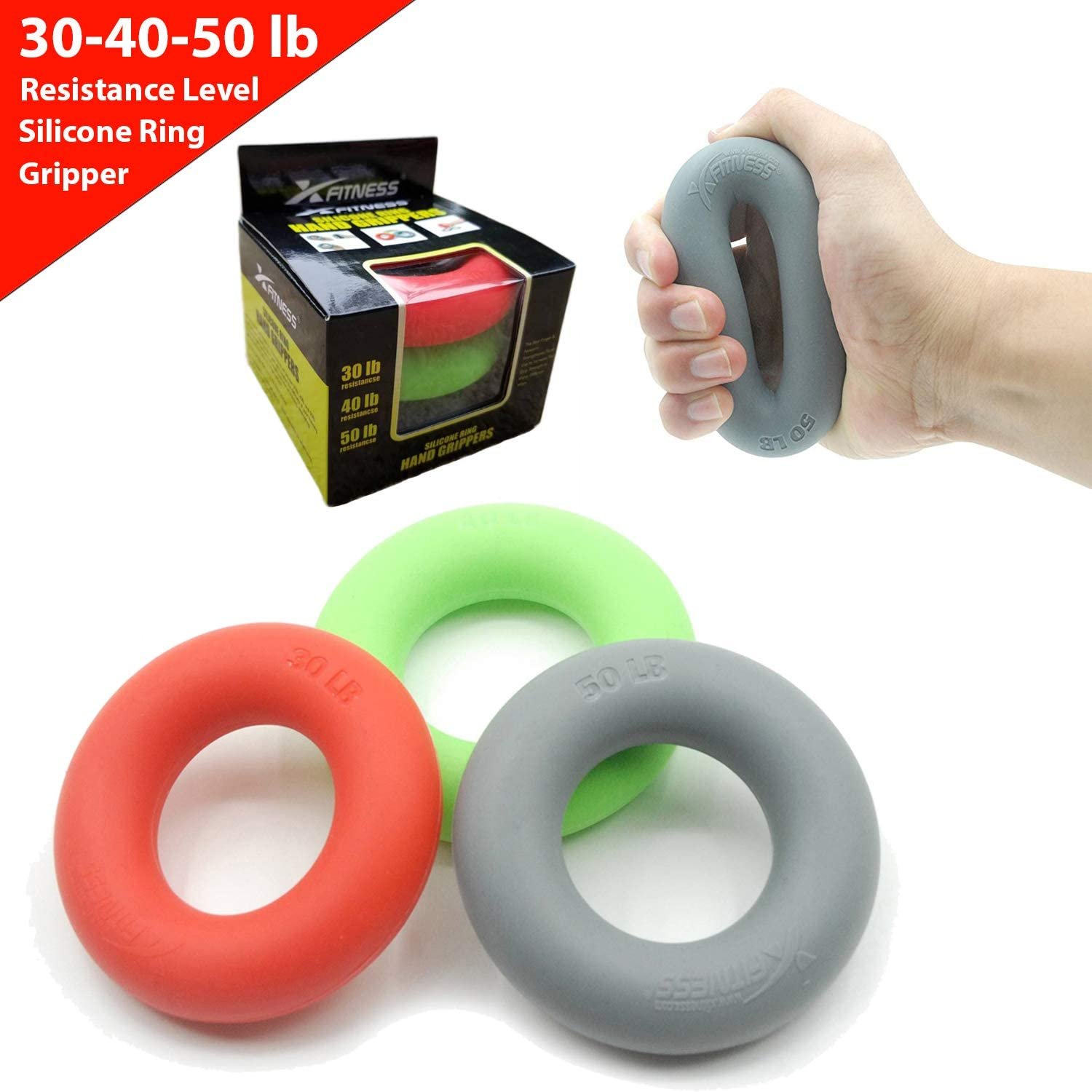 xFitness Hand Grip A Hand Forearm Exerciser and Strengthener – Set of 3 Level Resistance – Extension, Crushing Pinch Grip Training Solution – Best Hand Grips on The Market – 30 40 50 lbs Set
