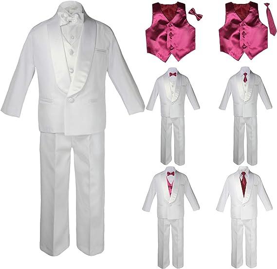 Unotux New Born Baby Toddler Kids Boy Teen Formal White Shawl Lapel Suit Set Satin Necktie Sm-20