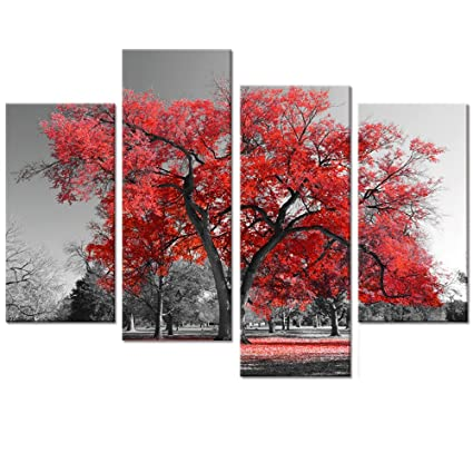 cbe031f4c Amazon.com: Multi Panels Landscape Canvas Wall Art, Maple Tree Forest  Painting Prints for Wall Decor, Black and White Artwork for Living Room, ...