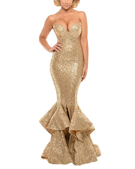 TulBridal Womens Gold Sequis Mermaid Split Long Prom Dresses Evening Formal Gowns 2018