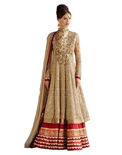 DivyaEmporio Net & Resham Anarkali, abito salwar da donna, senza cuciture