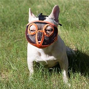JYHY Short Snout Dog Muzzles- Adjustable Breathable Mesh Bulldog Muzzle for Biting Chewing Barking Training Dog Mask