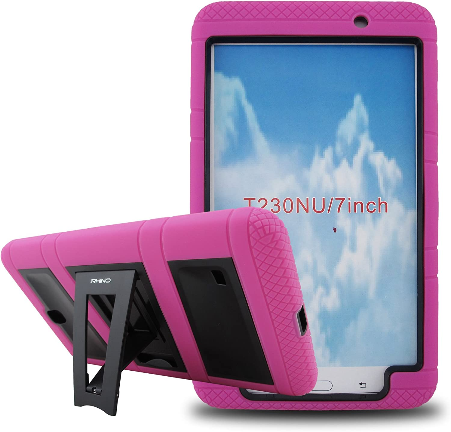 [iRhino] TM Heavy Duty rugged impact Dual Layer Hybrid Case cover with Build In Kickstand Protective Case For Samsung Tablet galaxy Tab 4 7 inch T230 (HOT PINK ON BLACK)