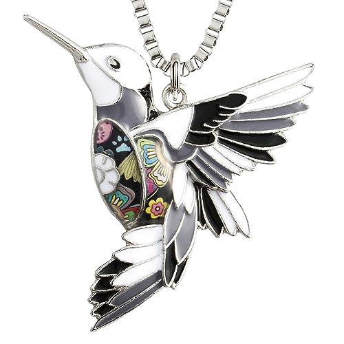 237bc2837 Luckeyui Hummingbird Pendant Necklaces for Women Birthday Gift Personalized Bird  Charm Jewelry