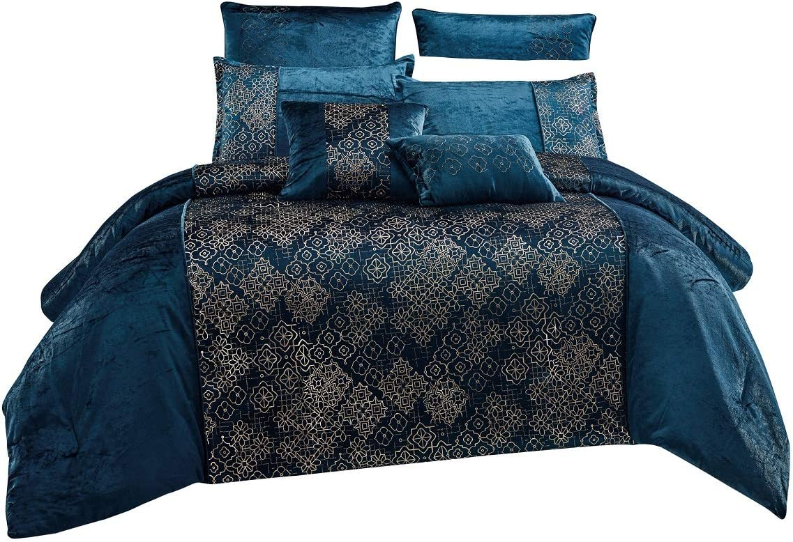 WPM 7 Piece Teal Blue Gold Comforter Set Luxury Royal Bedding Bed in a Bag with Euro Shams Decorative Pillows-Kala (Queen)