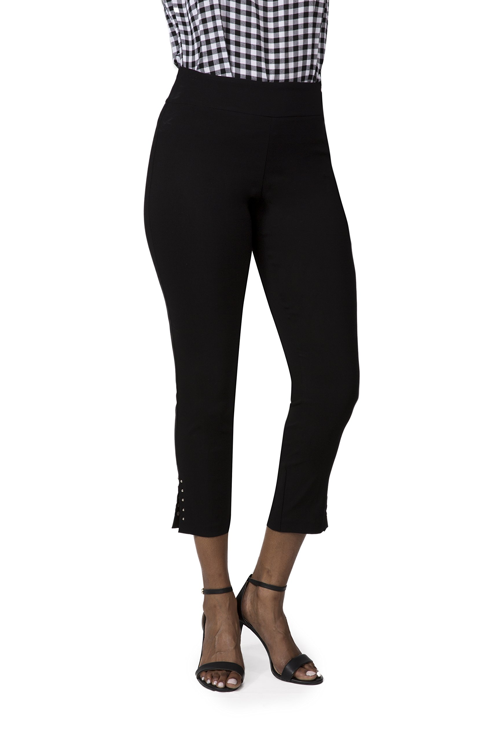 Fundamental Things Women's Pull On Comfort Slim Career Pant with Tummy Control, Black, Size 4
