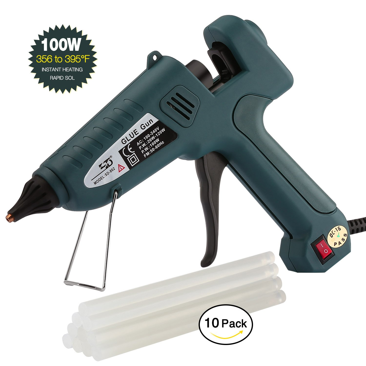 Glue Gun,100W Industrial Glue Gun High Temperature Hot Melt Glue Gun+10pcs Glue Sticks