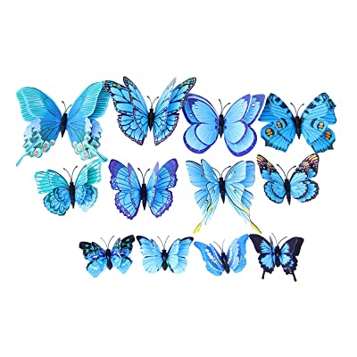 Decdeal 12 PCS 3D Colorful Butterfly Wall Stickers, Removable DIY Art Decals Craft Decorations for Wall Home Kids Room Bedroom Decor: Home & Kitchen