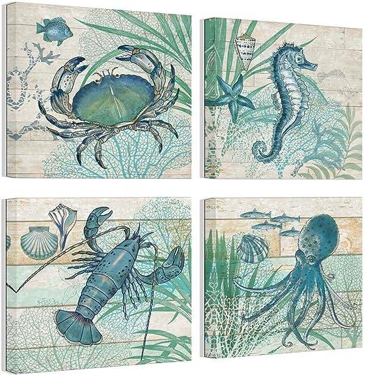 Animal Poster//Sea Horse//Fish//Psychedelic Sea Creature//Ocean Life//Seahorse//Color