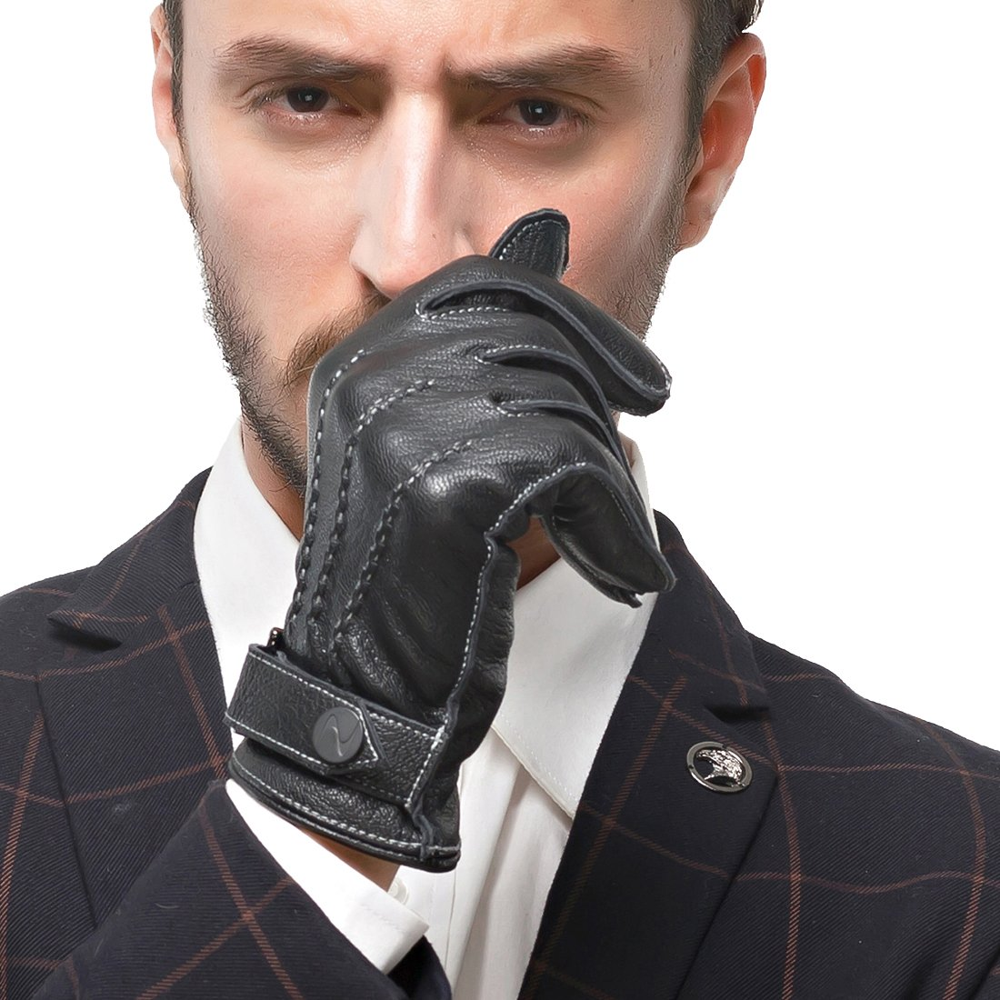 Nappaglo Men's Touchscreen Italian Nappa Leather Gloves Texting Lambskin Warm Gloves with Long Fleece Lining (M (Palm Girth:8''-8.5''), Black (Touchscreen))