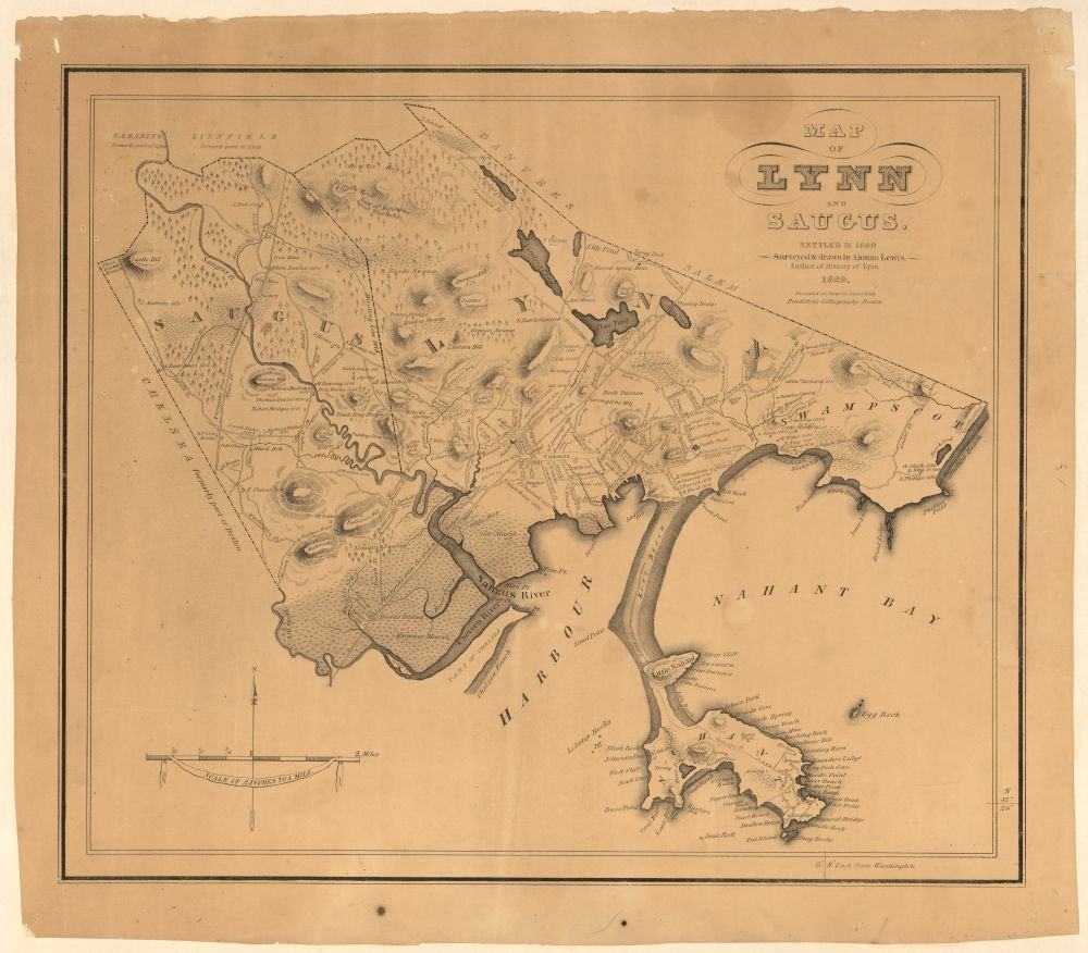Amazon.com: Vintage 1829 Map of Map of Lynn and Saugus : settled in ...