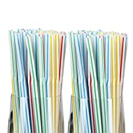 """Vammy 400 Pack Flexible Plastic Straws Drinking Striped Multi Colored Disposable Bendy Straw BPA Free 8"""" Long"""